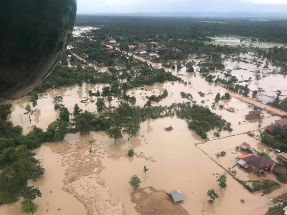 Aerial view shows the flooded area after a dam collapsed in Attapeu province, Laos July 25, 2018 in this image obtained from social media. MIME PHOUMSAVANH/via REUTERS