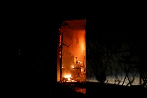 A house burns as a wildfire rages at the village of Mati, near Athens. REUTERS/Alkis Konstantinidis