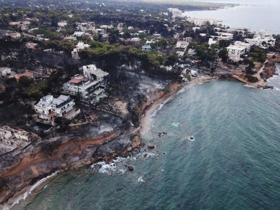 Aerial view of the area after a wildfire, in Mati, Greece July 24, 2018 in this picture obtained from social media July 26, 2018. FLYGREECEDRONE/via REUTERS