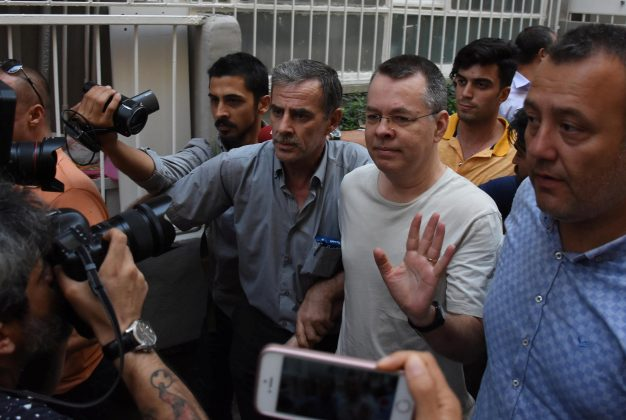 U.S. pastor Andrew Brunson reacts as he arrives at his home after being released from the prison in Izmir, Turkey July 25, 2018. Demiroren News Agency, DHA via