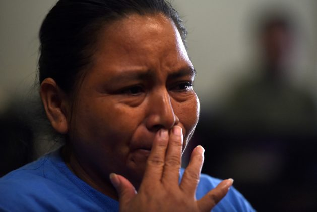 After being reunited with her daughter, Sandra Elizabeth Sanchez, of Honduras, speaks with media at Catholic Charities in San Antonio, Texas, U.S., July 26, 2018. REUTERS/Callaghan O'Hare