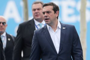Greek Prime Minister Alexis Tsipras arrives for the second day of a NATO summit in Brussels, Belgium, July 12, 2018. Tatyana Zenkovich/Pool via REUTERS