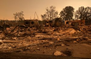 A burned out home in the small community of Keswick is shown from wildfire damage near Redding. REUTERS/Alexandria Sage