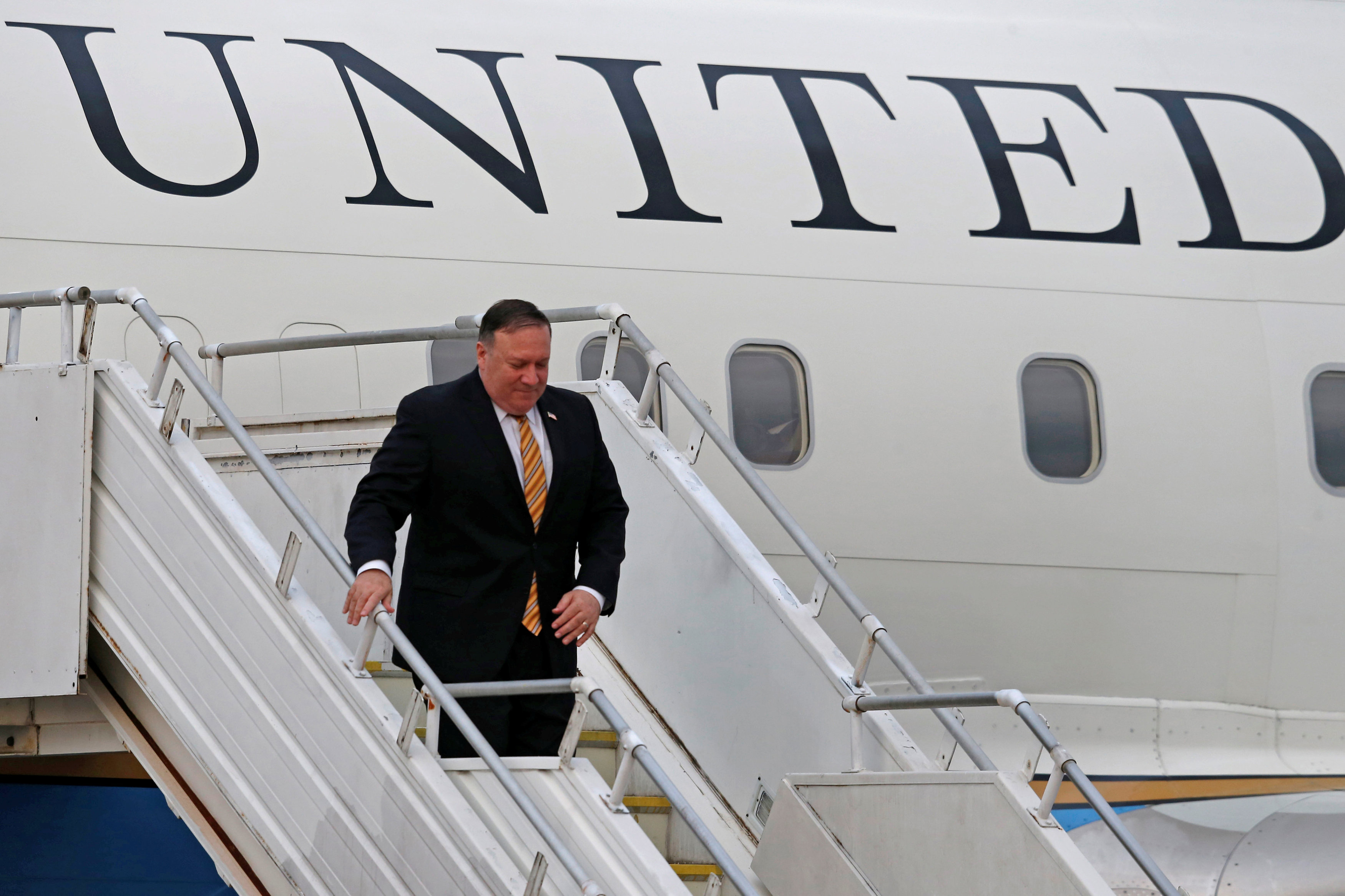 U.S. Secretary of State Mike Pompeo arrives at Royal Malaysian Air Force base in Subang, Malaysia August 2, 2018. REUTERS/Lai Seng Sin