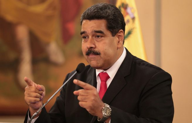 Venezuela's President Nicolas Maduro speaks during a meeting with government officials the Miraflores Palace in Caracas, Venezuela August 4, 2018. Miraflores Palace/Handout via REUTERS