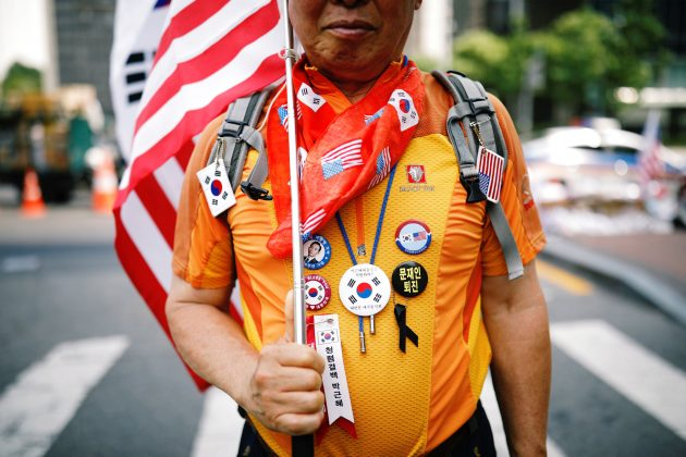 A member of a conservative right-wing civic group attends an anti-North Korea and pro-U.S. protest in Seoul, South Korea, August 4, 2018. REUTERS/Kim Hong-Ji