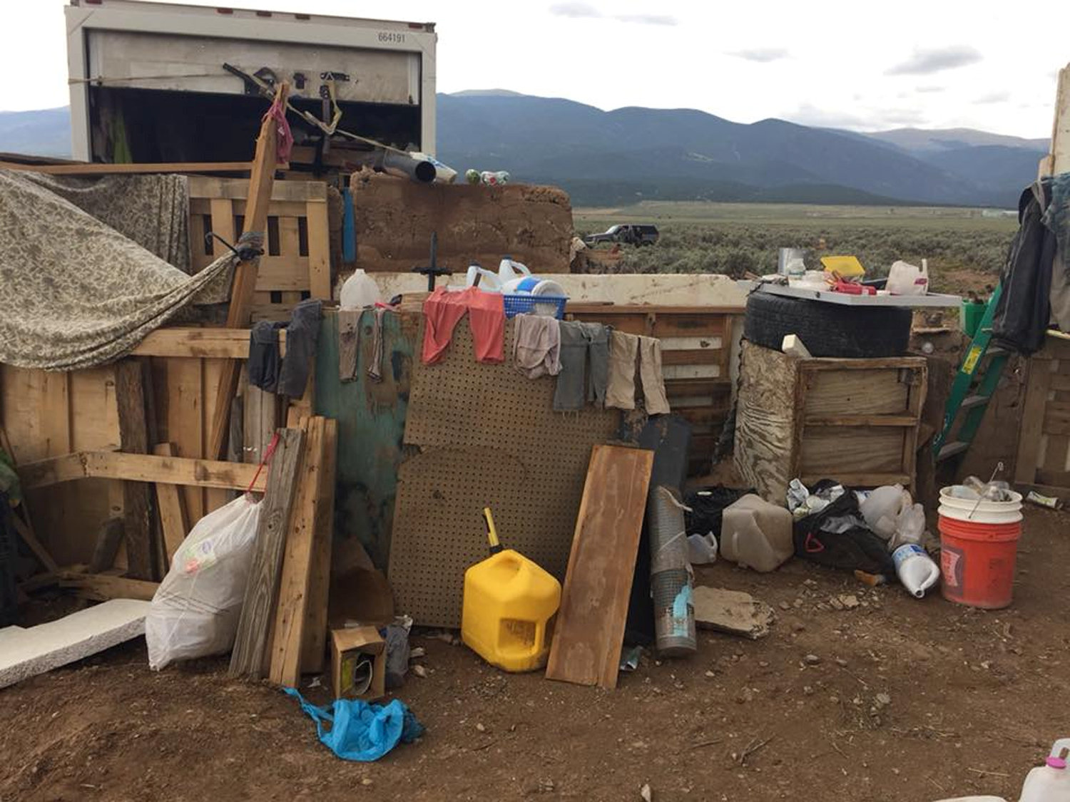 Conditions at a compound in rural New Mexico where 11 children were taken into protective custody for their own health and safety after a raid by authorities, are shown in this photo near Amalia, New Mexico, U.S., provided August 6, 2018. Taos County Sheriff's Office/Handout via REUTERS