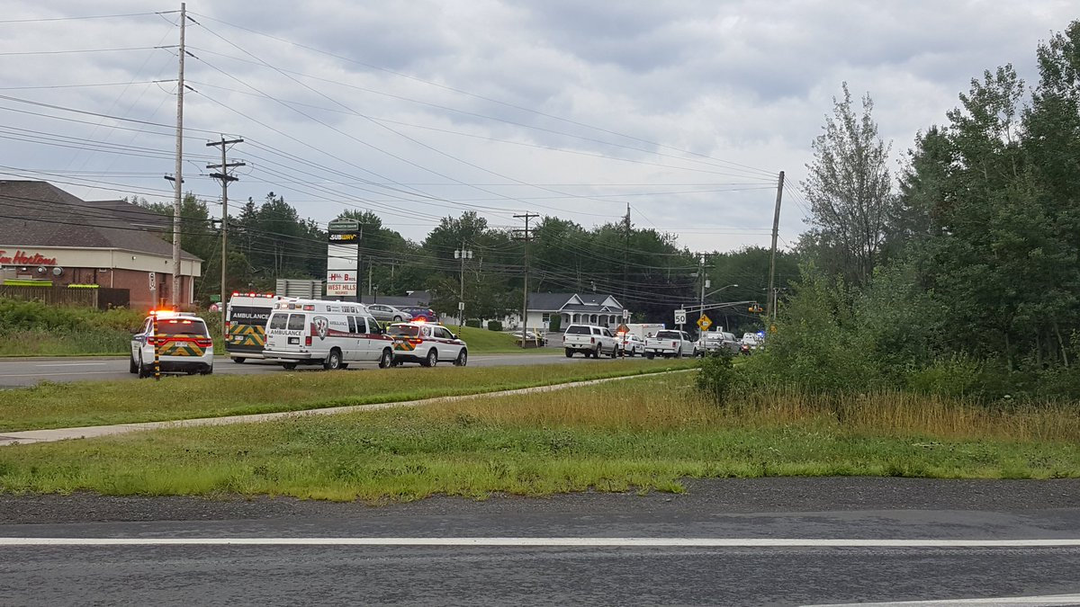 Emergency vehicles are seen at the Brookside Drive area in Fredericton, Canada August 10, 2018 in this picture obtained from social media. Kev Bourque/via REUTERS