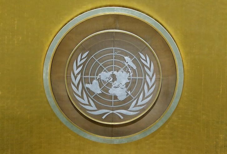 FILE PHOTO: The United Nations emblem is seen in the U.N. General Assembly hall during the 72nd United Nations General Assembly at U.N. headquarters in New York, U.S., September 22, 2017. REUTERS/Lucas Jackson/File Photo