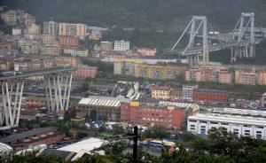 The collapsed Morandi Bridge is seen in the Italian port city of Genoa August 14, 2018. REUTERS/Stringer