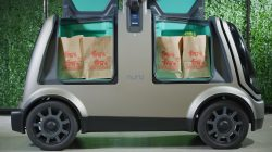 Nuro's R1 driverless delivery van is seen packed with bags from Kroger's Fry's Food Stores, which will begin a test of the vehicle in Scottsdale, Arizona, U.S., this autumn in this undated photo provided August 15, 2018. Courtesy of Kroger/Handout via REUTERS