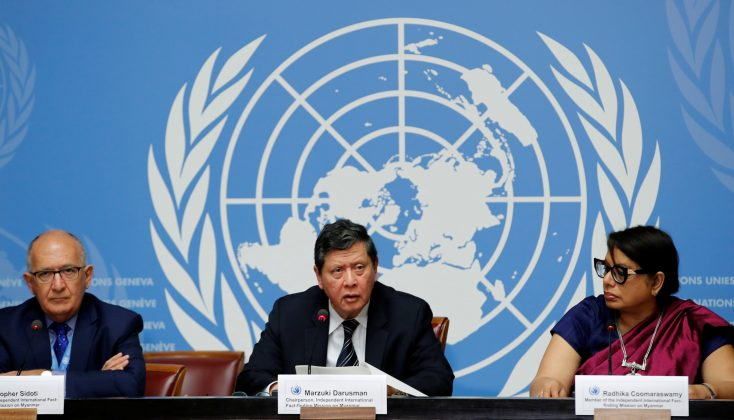 (L-R) Christopher Sidoti, Marzuki Darusman and Radhika Coomaraswamy, members of the Independent International Fact-finding Mission on Myanmar attend a news conference on the publication of its final written report at the United Nations in Geneva, Switzerland, August 27, 2018. REUTERS/Denis Balibouse