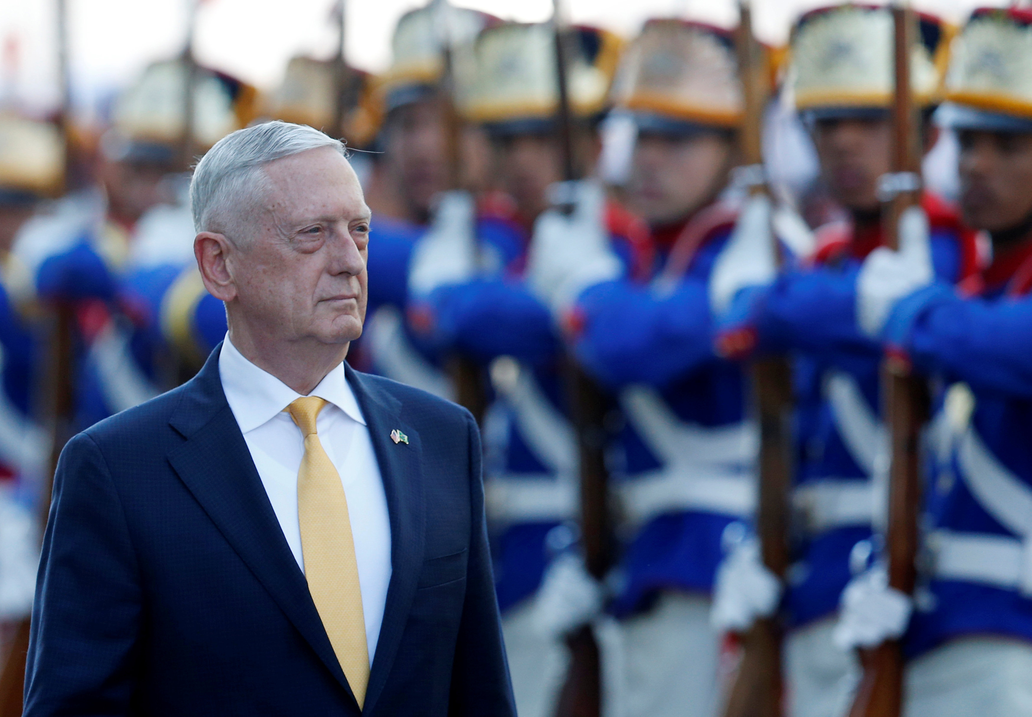 U.S. Secretary of Defence James Mattis reviews the honor guard before meeting with the Brazilian Defense Minister Joaquim Silva e Luna (not pictured) in Brasilia, Brazil August 13, 2018. REUTERS/Adriano Machado
