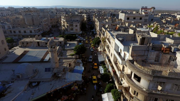 FILE PHOTO:A general view taken with a drone shows part of the rebel-held Idlib city, Syria June 8, 2017. REUTERS/Ammar Abdullah/File Photo