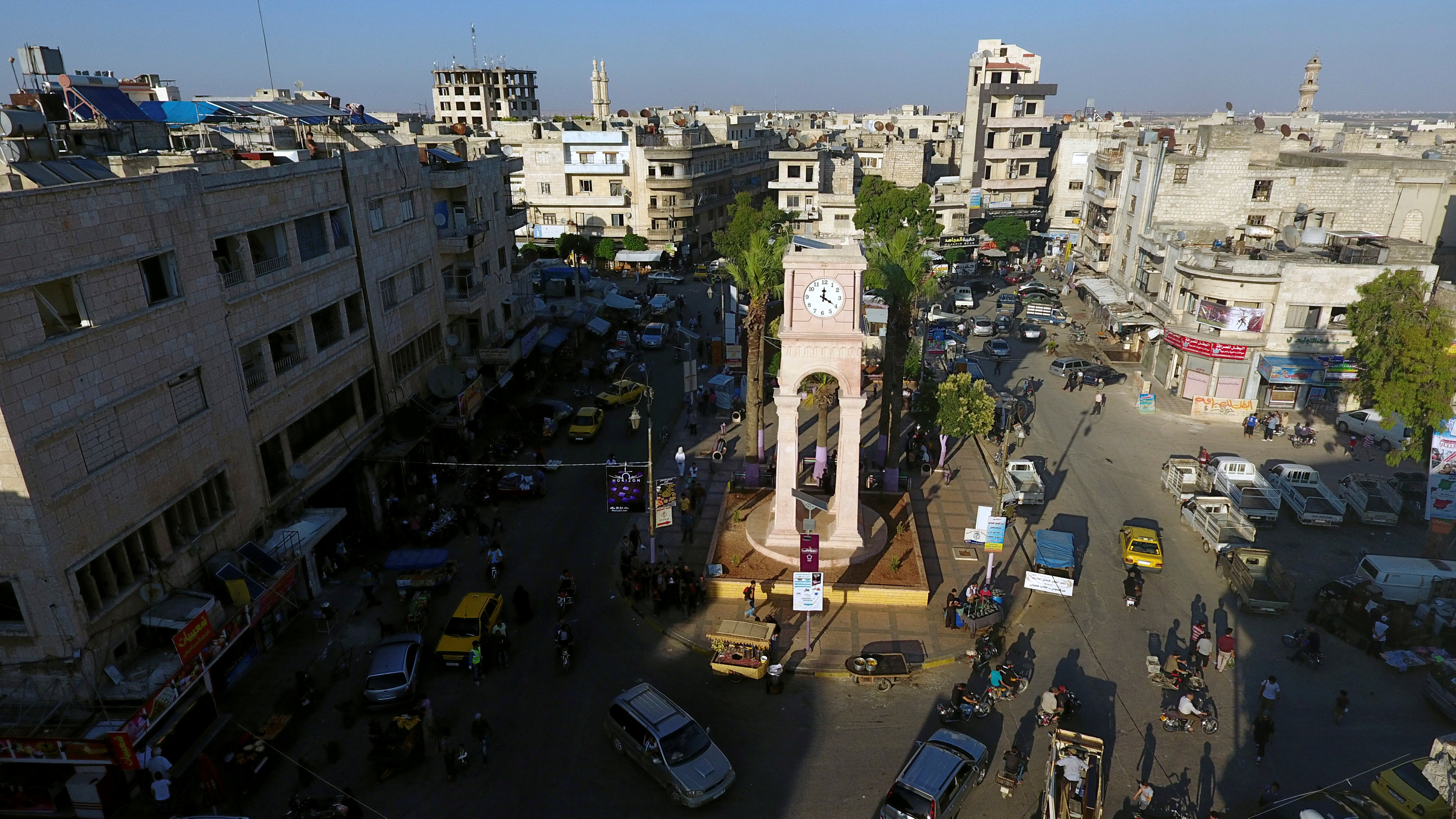 FILE PHOTO:A general view taken with a drone shows the Clock Tower of the rebel-held Idlib city, Syria June 8, 2017. REUTERS/Ammar Abdullah/File Photo