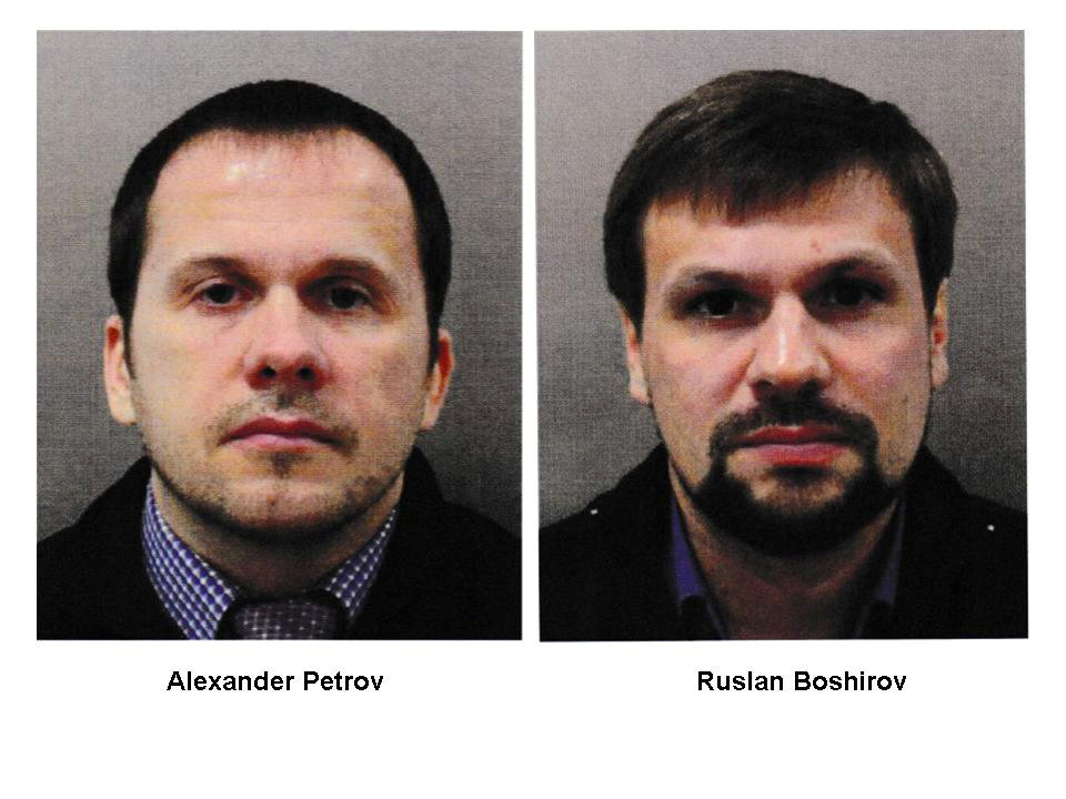 Alexander Petrov and Ruslan Boshirov, who were formally accused of attempting to murder former Russian intelligence officer Sergei Skripal and his daughter Yulia in Salisbury, are seen in an image handed out by the Metropolitan Police in London, Britain September 5, 2018. Metroplitan Police handout via REUTERS