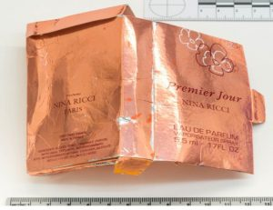 Packaging for a counterfeit bottle of perfume that was recovered from Charlie Rowley's home after he and his partner Dawn Sturgess were poisoned by the same nerve agent which was used to poison former Russian spy Sergei Skripal and his daughter Yulia in Salisbury, is seen in an image handed out by the Metropolitan Police in London, Britain September 5, 2018. Metroplitan Police handout via REUTER