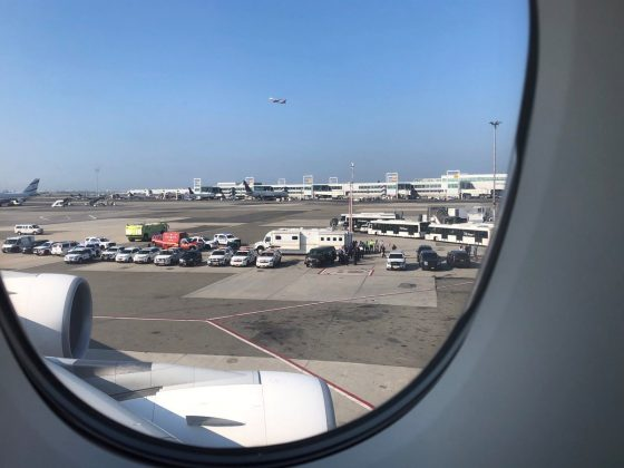 The emergency services are seen, after the passengers were taken ill on a flight from New York to Dubai, on JFK Airport, New York, U.S., September 05, 2018 in this still image obtained from from social media. Larry Coben/via REUTERS