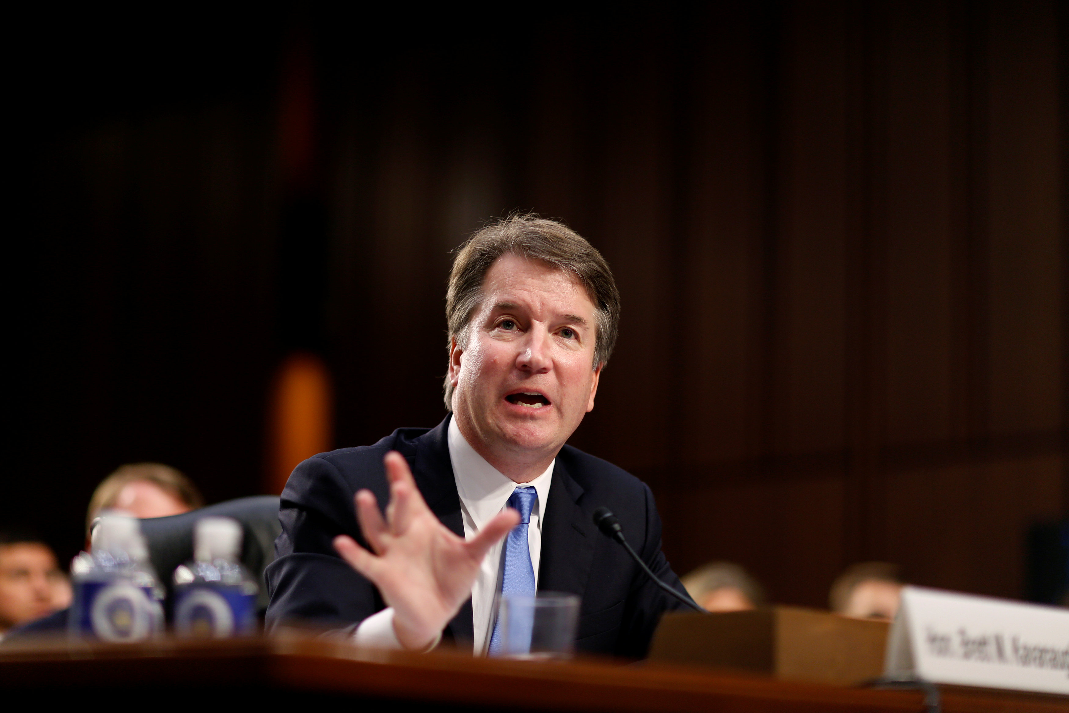 Supreme Court nominee Brett Kavanaugh testifies during the second day of his confirmation hearing before the Senate Judiciary Committee on Capitol Hill in Washington, U.S., September 5, 2018. REUTERS/Joshua Roberts