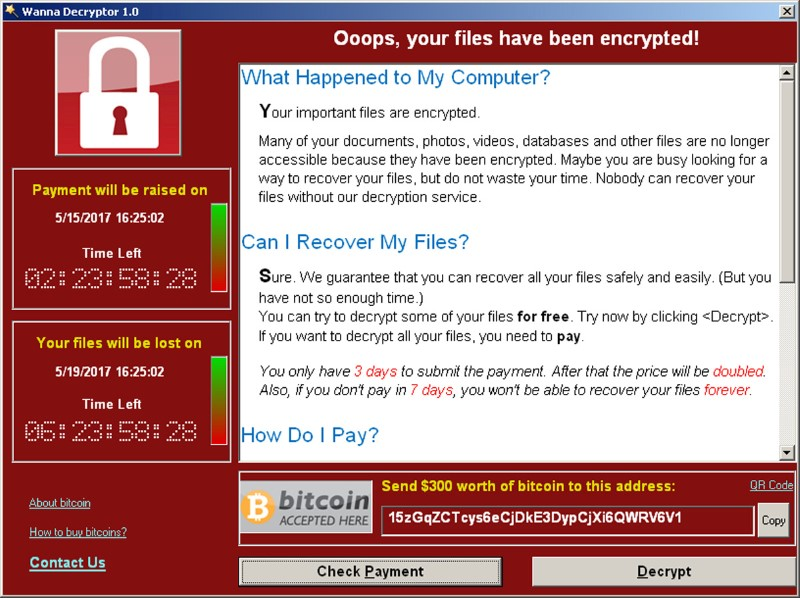FILE PHOTO: A screenshot shows a WannaCry ransomware demand, provided by cyber security firm Symantec, in Mountain View, California, U.S. May 15, 2017. Courtesy of Symantec/Handout via REUTERS
