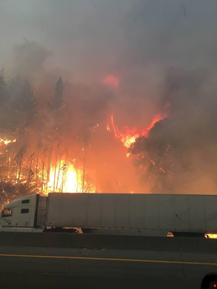 Flames engulf trees along interstate 5 in the Shasta-Trinity National Forest as a tractor trailer drives by north of Redding, California, U.S., September 5, 2018. Courtesy U.S. Forest Service/Handout via REUTERS