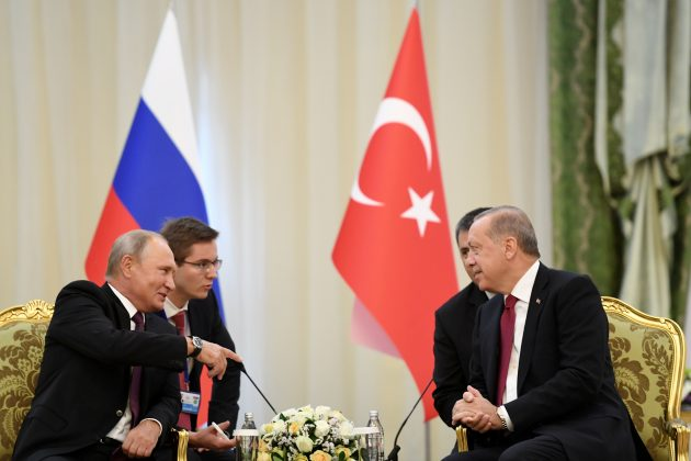 Russian President Vladimir Putin meets with his Turkish counterpart Tayyip Erdogan in Tehran, Iran September 7, 2018. Kirill Kudryavtsev/Pool via REUTERS