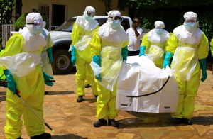 FILE PHOTO: Congolese officials and the World Health Organization officials wear protective suits as they participate in a training against the Ebola virus near the town of Beni in North Kivu province of the Democratic Republic of Congo, August 11, 2018. REUTERS/Samuel Mambo