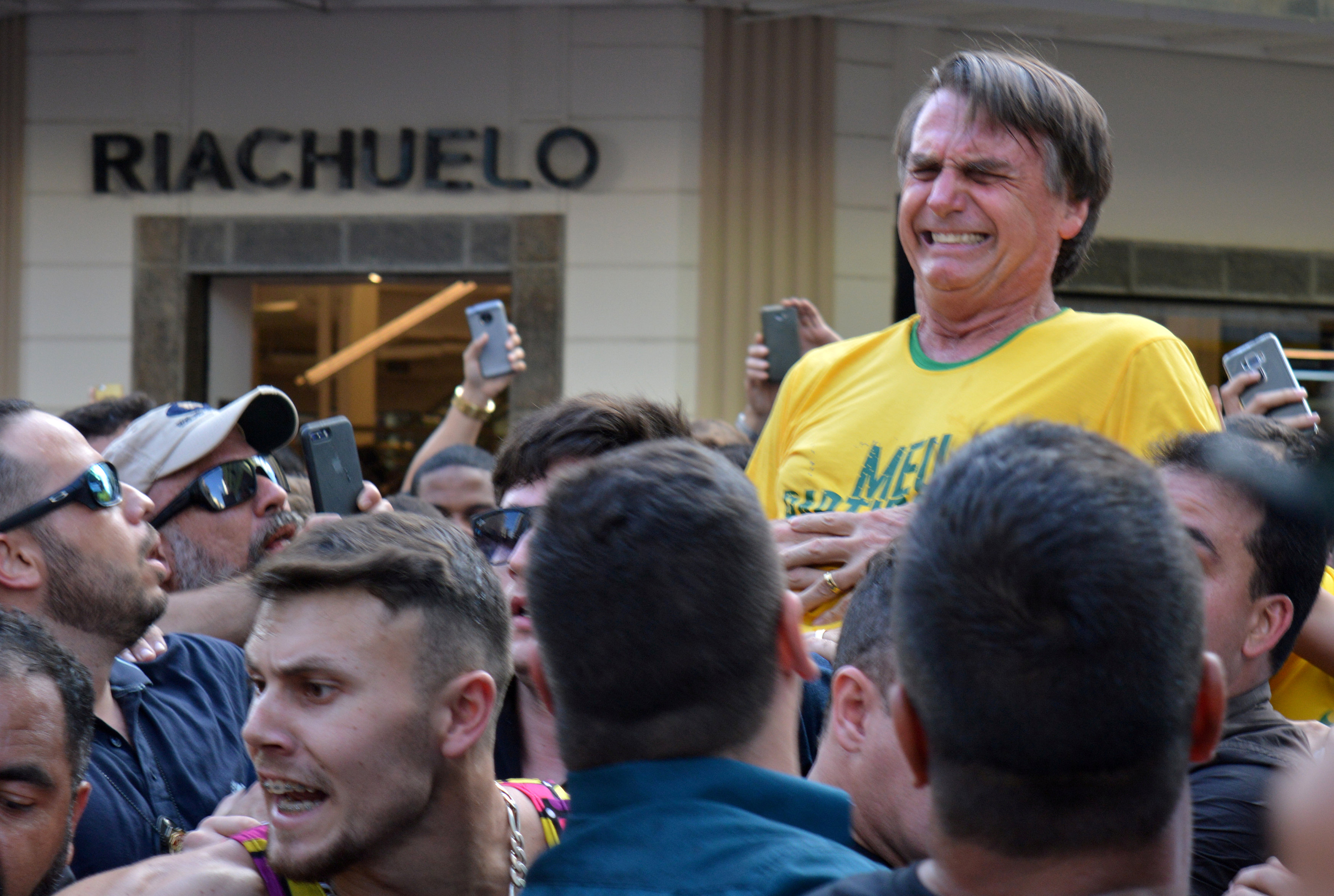 FILE PHOTO: Brazilian presidential candidate Jair Bolsonaro reacts after being stabbed during a rally in Juiz de Fora, Minas Gerais state, Brazil September 6, 2018.REUTERS/Raysa Campos Leite