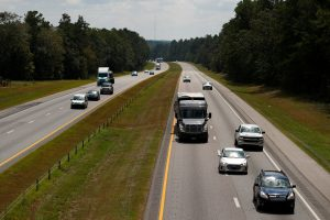 Vehicles travel westbound on Interstate 26 ahead of the arrival of Hurricane Florence near Orangeburg, South Carolina, U.S., September 11, 2018. REUTERS/Chris Keane