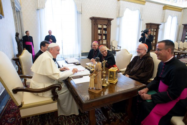 Pope Francis meets U.S. Catholic Church leaders Cardinal Daniel DiNardo, Archbishop of Galveston-Houston, Archbishop of Los Angeles JosŽ Horacio G—mez, Cardinal Sean Patrick OÕMalley, Archbishop of Boston, and Monsignor Brian Bransfield, General Secretary of the United States Conference of Catholic Bishops, during a private audience at the Vatican, September 13, 2018. Vatican Media/Handout via REUTERS ATTENTION EDITORS - THIS IMAGE WAS PROVIDED BY A THIRD PARTY