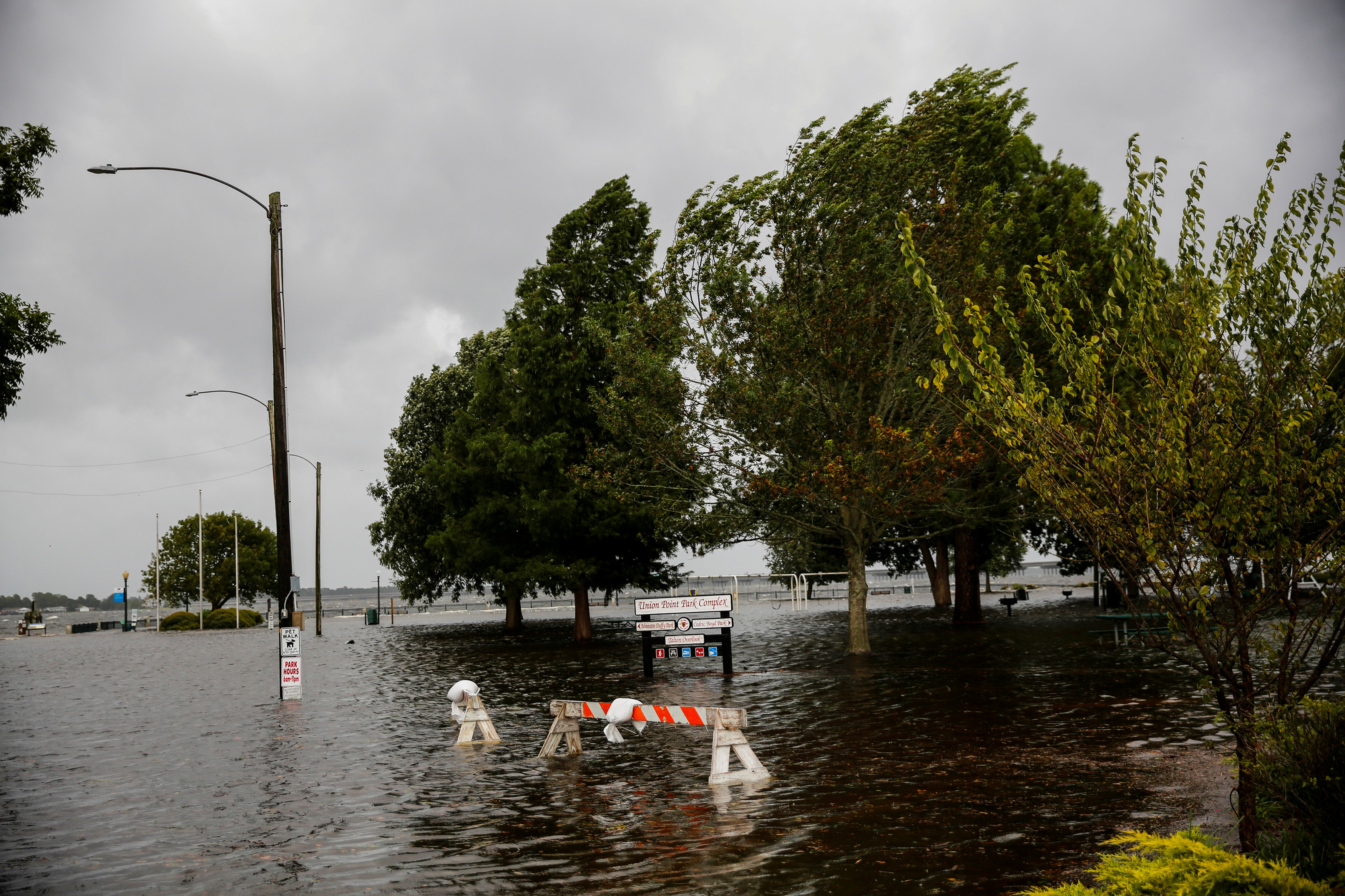 The Union Point Park Complex is seen flooded as the Hurricane Florence comes ashore in New Bern, North Carolina, U.S., September 13, 2018. REUTERS/Eduardo Munoz