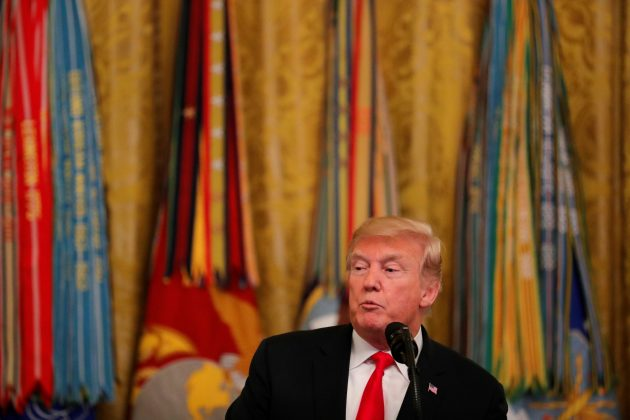 FILE PHOTO: U.S. President Donald Trump speaks during a reception for Congressional Medal of Honor recipients in the East Room of the White House in Washington, U.S., September 12, 2018. REUTERS/Carlos Barria