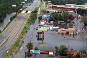 An aerial picture shows a flooded Interstate 95 (I-95) after Hurricane Florence in Lumberton, North Carolina, U.S. September 17, 2018. REUTERS/Jason Miczek