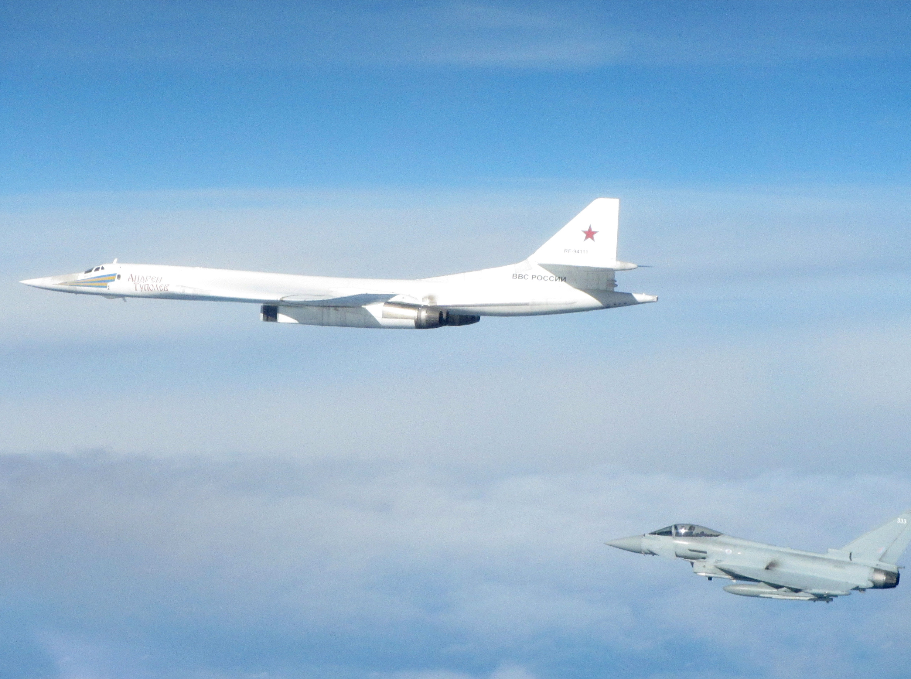 British Royal Air Force Typhoon fighter aircraft from RAF Lossiemouth intercept two Russian Long Range Blackjack bombers and escort them whilst in the UK area of interest. Photograph issued from Lossiemouth, Britain, September 20, 2018. RAF/Ministry of Defence/Handout via REUTERS