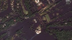 A closeup of flooded homes and roads near the River Landing Country Club, in the aftermath of Hurricane Florence, is seen in this satellite image over the area in Wallace, North Carolina, U.S., September 20, 2018. Satellite image ©2018 DigitalGlobe, a Maxar company/Handout via REUTERS