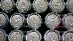 FILE PHOTO: Beer cans are displayed in a store in Ciudad Juarez, Mexico, July 31, 2018. REUTERS/Jose Luis Gonzalez/File Photo