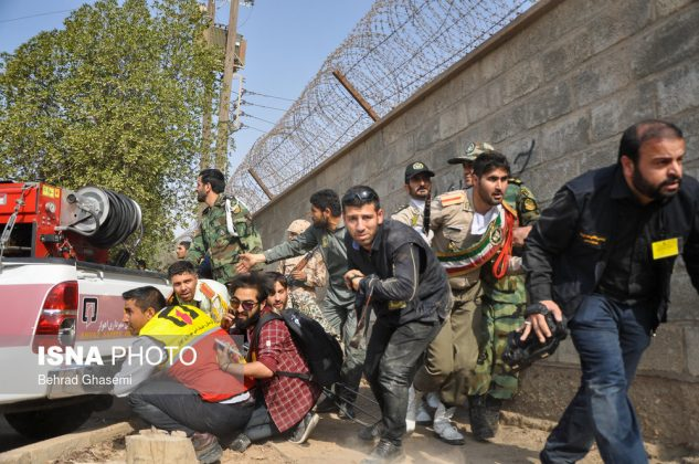 A general view shows an attack on a military parade in Ahvaz, Iran, in this September 22, 2018 photo by ISNA. The photo is watermarked from source. ISNA/Iranian Students' News Agency/Social Media/via REUTERS ATTENTION EDITORS - THIS PICTURE WAS PROVIDED BY A THIRD PARTY. NO RESALES. NO ARCHIVE. MANDATORY CREDIT.