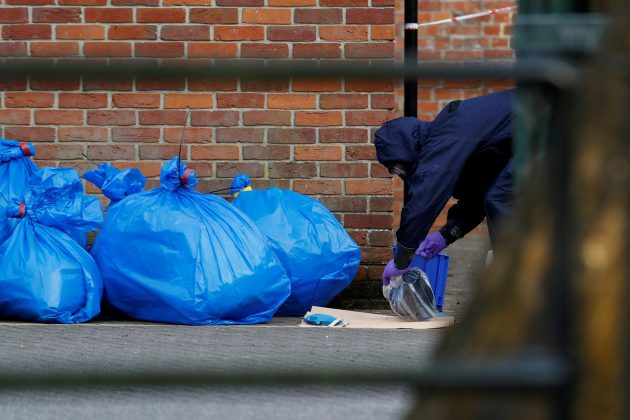 FILE PHOTO: Bags containing protective clothing are seen after Inspectors from the Organisation for the Prohibition of Chemical Weapons (OPCW) left after visiting the scene of the nerve agent attack on former Russian agent Sergei Skripal, in Salisbury, Britain March 21, 2018. REUTERS/Peter Nicholls/File Photo