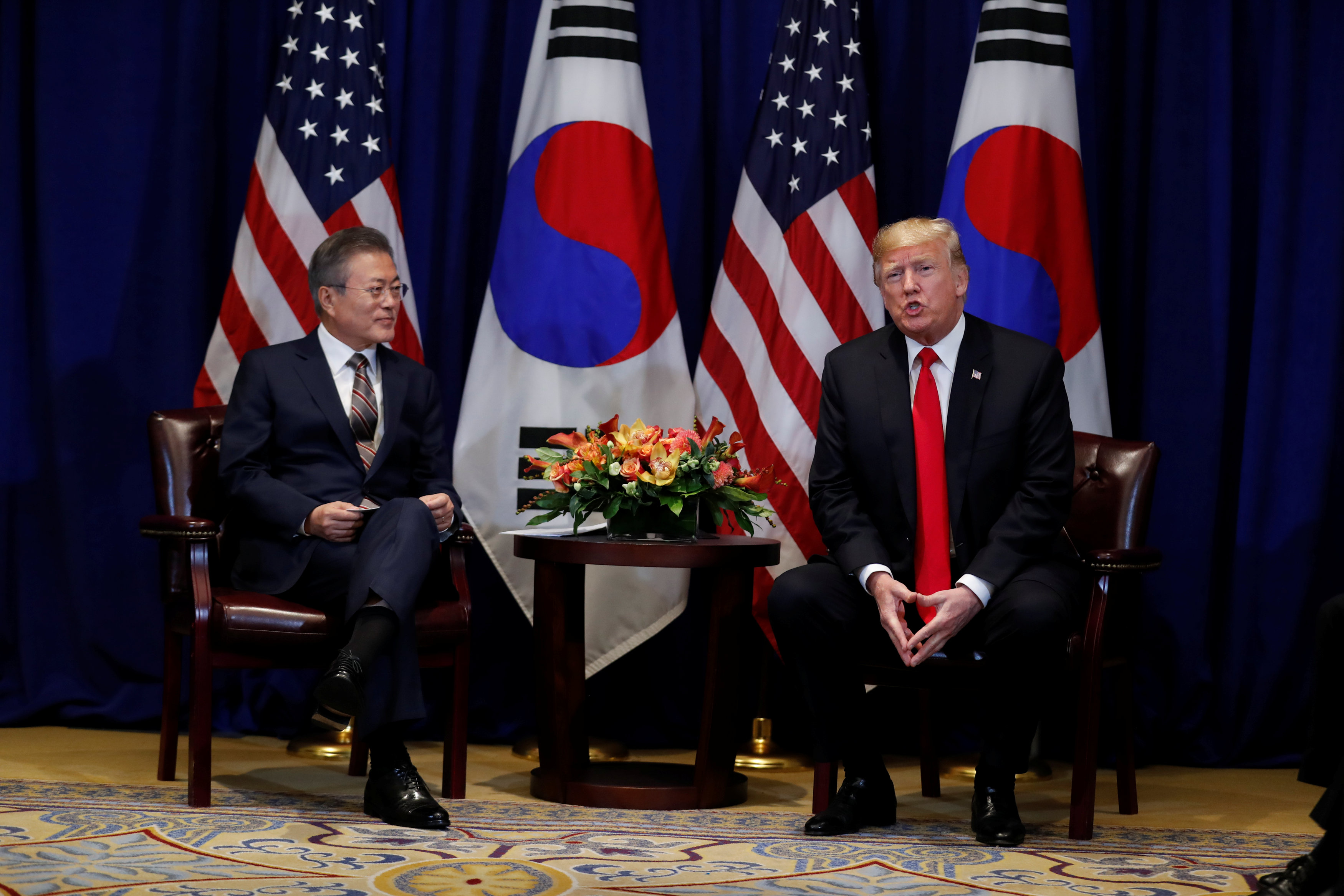 U.S. President Donald Trump holds a bilateral meeting with South Korean President Moon Jae-in on the sidelines of the 73rd United Nations General Assembly in New York, U.S., September 24, 2018. REUTERS/Carlos Barria