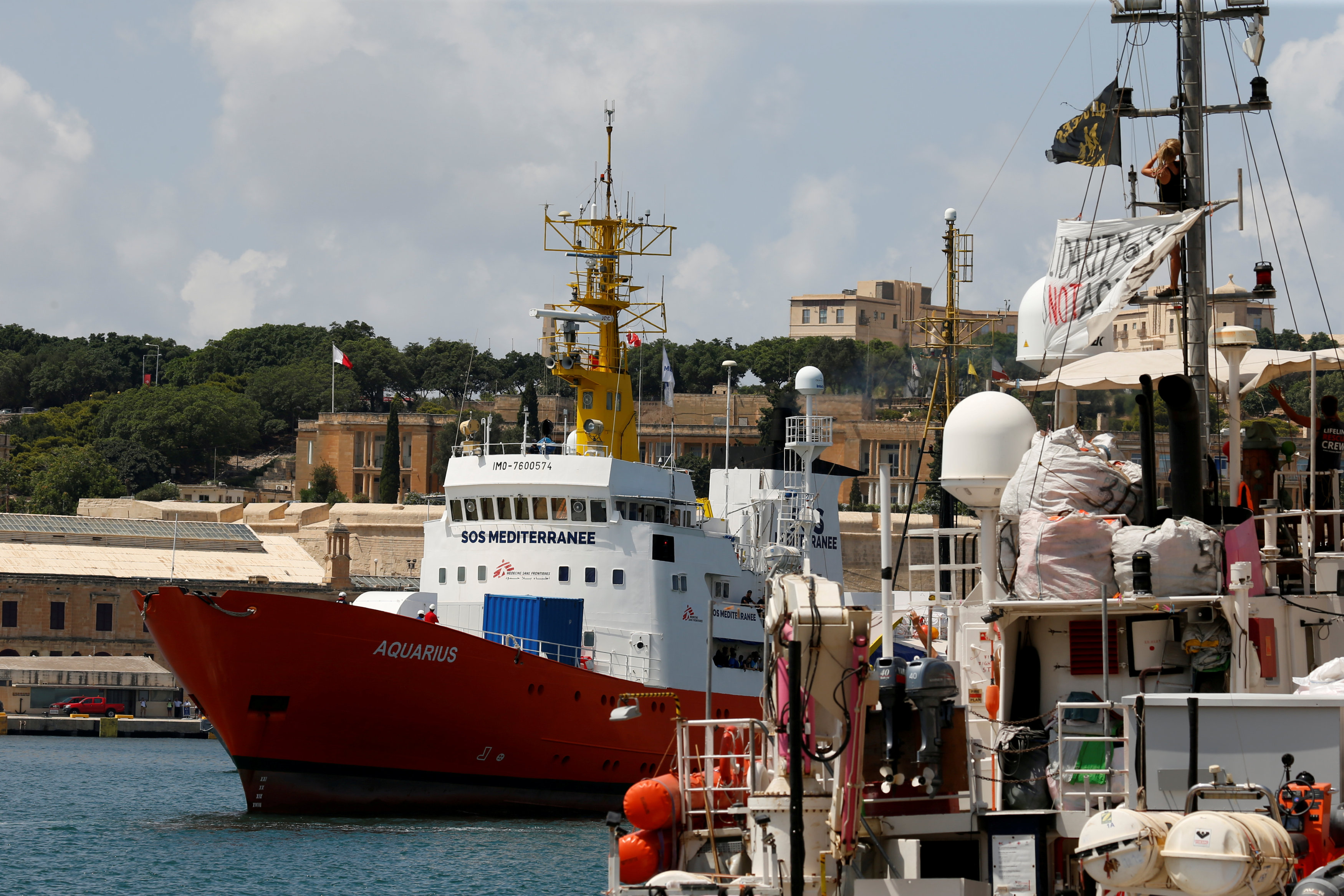 FILE PHOTO: The humanitarian ship Aquarius is seen at Boiler Wharf in Senglea, in Valletta's Grand Harbour, Malta August 15, 2018. REUTERS/Darrin Zammit Lupi/File Photo