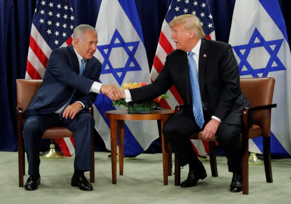 U.S. President Donald Trump and Israeli Prime Minister Benjamin Netanyahu hold a bilateral meeting during the 73rd session of the United Nations General Assembly at U.N. headquarters in New York, U.S., September 26, 2018. REUTERS/Carlos Barria