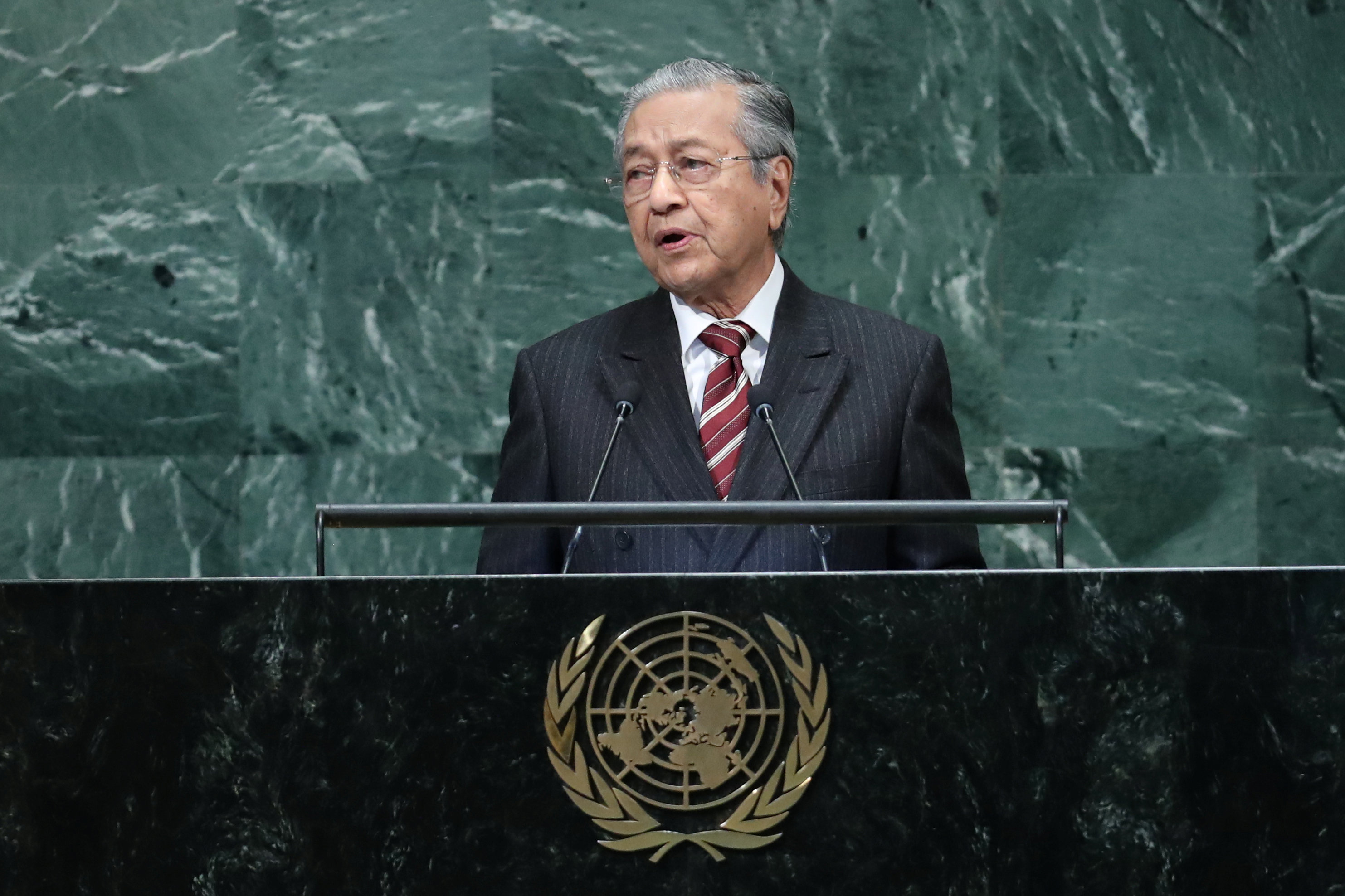 Prime Minister of Malaysia Mahathir bin Mohamad addresses the 73rd session of the United Nations General Assembly at U.N. headquarters in New York, U.S., September 28, 2018. REUTERS/Shannon Stapleton