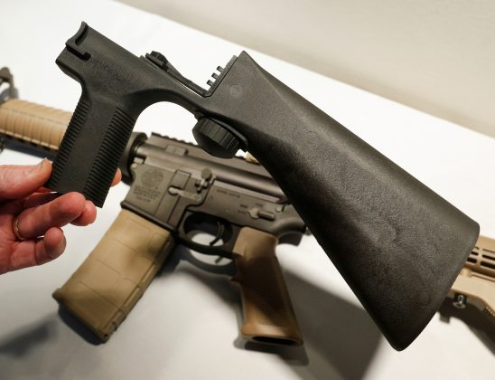 A bump fire stock that attaches to a semi-automatic rifle to increase the firing rate is seen at Good Guys Gun Shop in Orem, Utah, U.S., October 4, 2017. REUTERS/George Frey