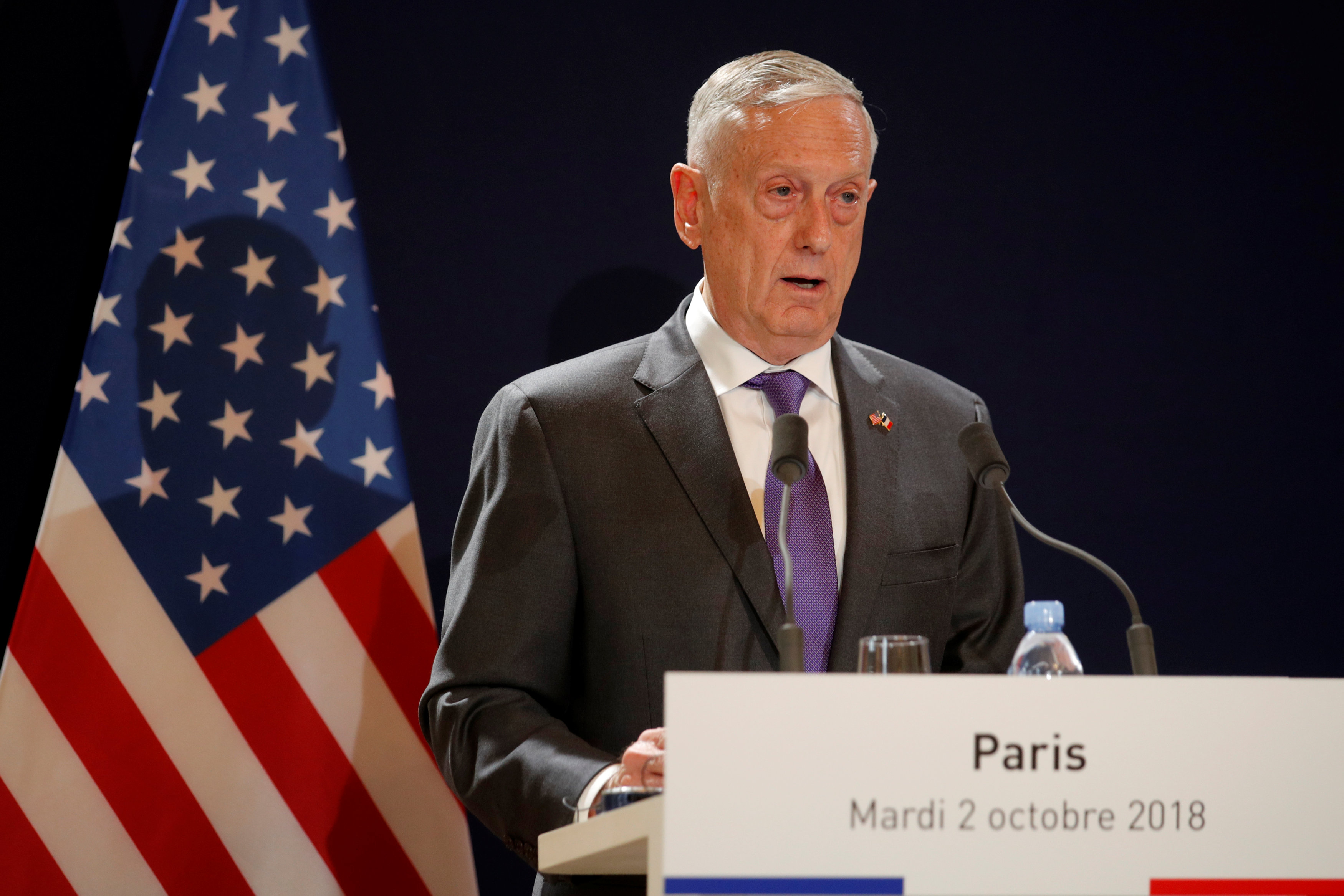 U.S. Secretary of Defense James Mattis attends a news conference with French Minister of the Armed Forces Florence Parly (not pictured) at the Defence Ministry in Paris, France, October 2, 2018. REUTERS/Philippe Wojazer