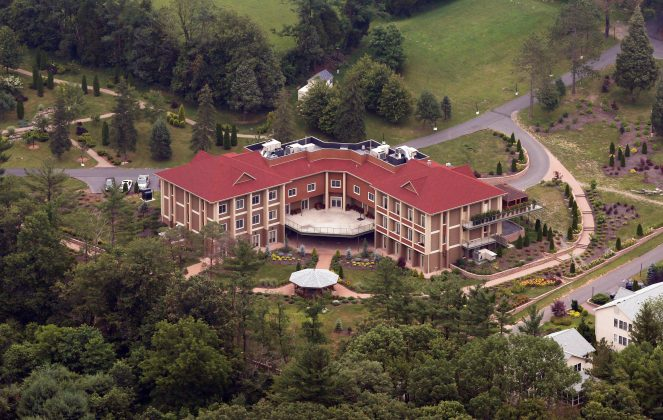 FILE PHOTO: An aerial view of the Golden Generation Worship and Retreat Center in rural Saylorsburg, Pennsylvania, is seen in this picture taken July 9, 2013. REUTERS/Staff/File Photo