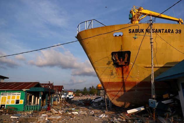 FILE PHOTO: The KM Sabuk Nusantara 39 ship is seen stranded on the shore after the earthquake and tsunami hit an area in Wani, Donggala, Central Sulawesi, Indonesia October 3, 2018. REUTERS/Athit Perawongmetha/File Photo