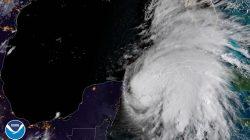 A satellite image of Tropical Storm Michael taken Monday. NOAA/via REUTERS
