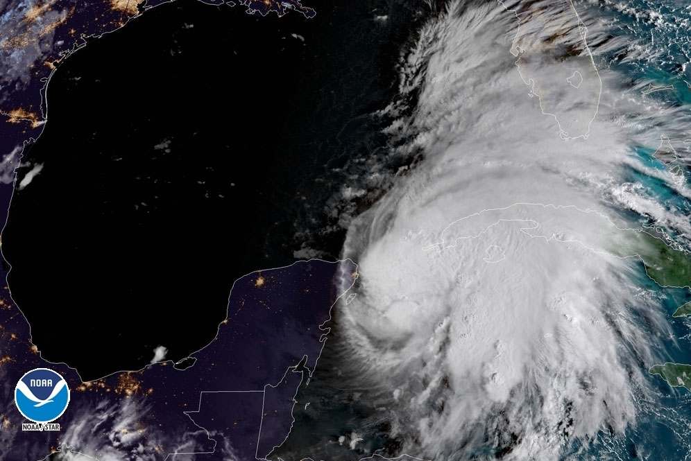 A satellite image of Tropical Storm Michael taken Monday. NOAA/via REUTERS