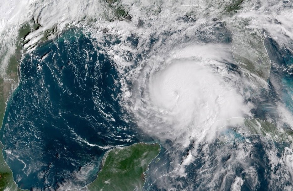 Hurricane Michael in a satellite image taken Tuesday. NOAA/via REUTERS