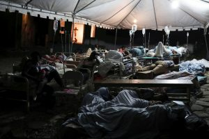 People injured in an earthquake that hit northern Haiti late on Saturday, sleep in a tent, in Port-de-Paix, Haiti, October 7, 2018. REUTERS/Ricardo Rojas
